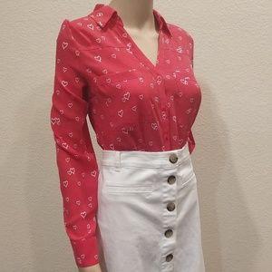 Express Watermelon White Heart Portofino Shirt M